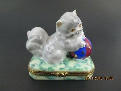 Cat With Ball Limoges France Trinket Box