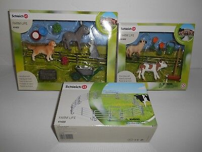 3pc Lot Schleich farm Lot #41423 Dog Cat # 41422 Lamb Calf #41420  Coral Fence