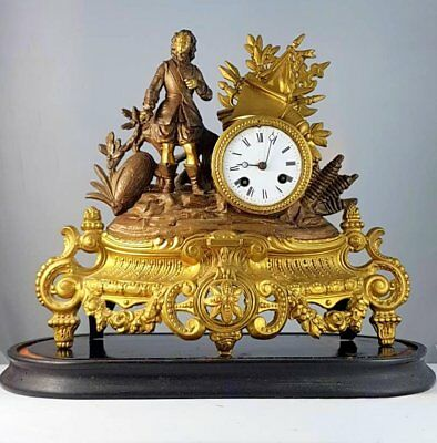 mantel clock pendulum bell antique France bronze marble Samuel Marti circa 1875