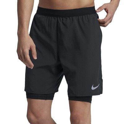 "MENS NIKE RUNNING FLEX 7"" Distance 2 in 1 Shorts  Size Small. Black  892905-010"
