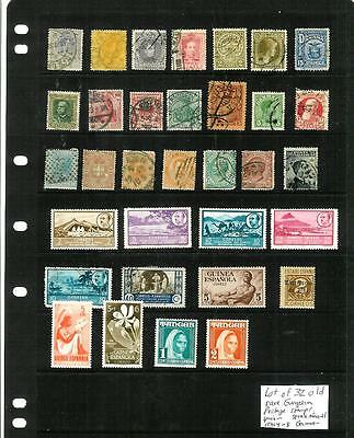 LOT OF 32 OLD RARE EUROPEAN POSTAGE STAMPS, Spain, Germany, colonies