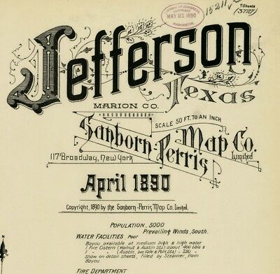 Jefferson,Texas~Sanborn Map© sheets~on CD~7 maps in color made 1890
