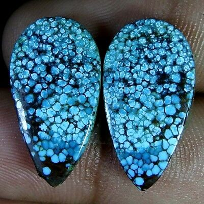 14.10.Cts. Natural A+ Spider Web Disigner Tibet Turquoise Pair Pear Cab Gemstone