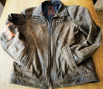 Vintage Distressed Angelo Litrico Motorcycle Cafe Racer Biker Leather Jacket M