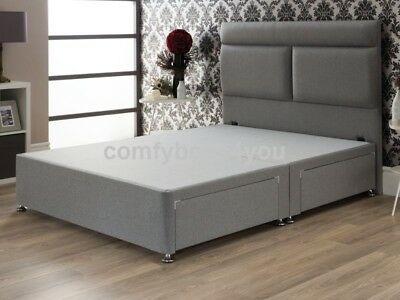 WOOL FABRIC DIVAN BED BASE - GREY or SILVER, 4FT6 DOUBLE, 5FT, Super KING size,
