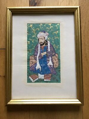 Small Old Vintage Persian Indian Islamic Painting Of A Figure On Paper Framed