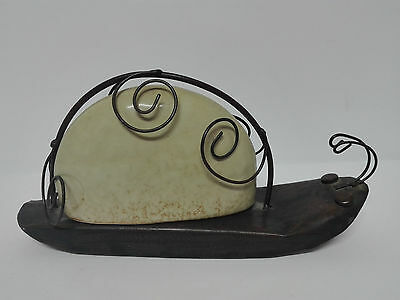 Antique metal paperweight and porcelain shaped snail 9 3/8x4 11/16in ART-DECO