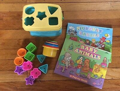 Fisher Price baby shape sorter & stacking cups & pop up books developmental toys