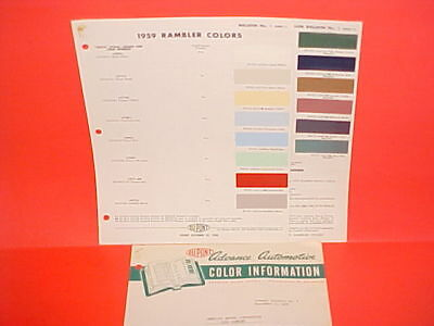 1959 Amc Rambler American Panel Delivery Rebel Custom Ambassador Paint Chips +