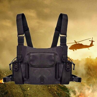 Durable Radio Chest Harness Front Pack Pouch Holster Chest Walkie-Talkie Bag D