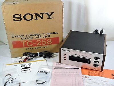 Sony TC-258 2 & 4 CHANNEL QUAD 8 Track Player Tested Working w/ belt box manual