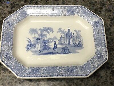 W Adams and Sons Isola Belle Small serving Tray platter 1800's Antique Blue