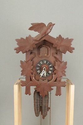 Bird & Vine Design Wall Hanging Black Forest Cuckoo Clock.