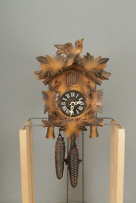 Small Working Bird & Vine Design Wall Hanging Black Forest Cuckoo Clock.