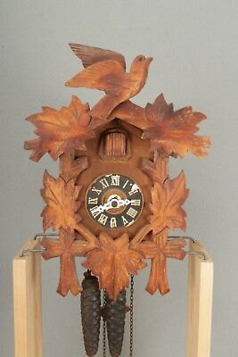 Working Bird & Vine Design Wall Hanging Black Forest Cuckoo Clock