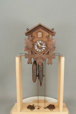 Small Working Wall Hanging Black Forest Cuckoo Clock. Top Crown Missing.