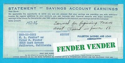 Leo Fender 1965 Statement of Savings Account Earnings Form w/ Leo's Notation