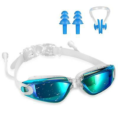 Swim Goggles UV400 Swimming Goggles with Ear Plugs Nose Clip Adult Youth Child
