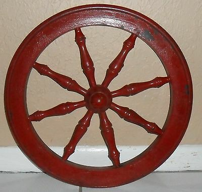 Vintage Very Rustic & Primitive Painted Wood Wooden Wheel,  Home  Or Garden Gate
