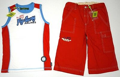NWT LOT OF 2 SHORTS & SHIRT Boys Oilily Size 128 US 7 - 8 Red Blue Tank Top NEW