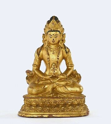 17th Century Chinese Gilt Lacquer Clay Terracotta Terra Cotta Seated Buddha