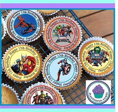 24 X Marvel Hero 13Th Birthday Edible Cupcake Toppers Wafer Paper,icing & Precut