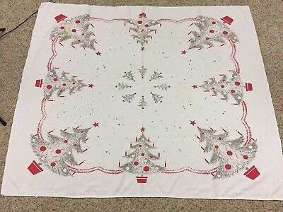 "VTG California Hand Print Tablecloth Gray Christmas Trees Red Trim 44"" X 52"""