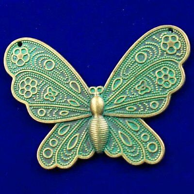 60x45x2mm Carved Brass Bronze Butterfly Pendant Bead X03073
