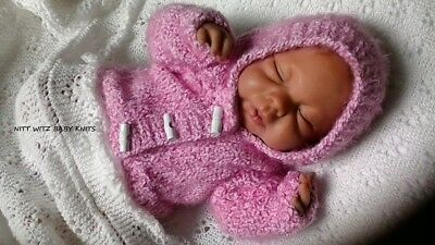 """Hand Knitted Cosy Hooded Jacket  for 16""""-18"""" Reborn or Premmie/Newborn baby girl"""