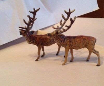 "Vintage Reindeer Pair-Made in Germany-Miniature 3 3/4"" total Height-Excellent"