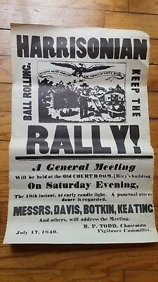 Antique Harrisonian Rally Poster Print Dated 1840s  William Henry Harrison