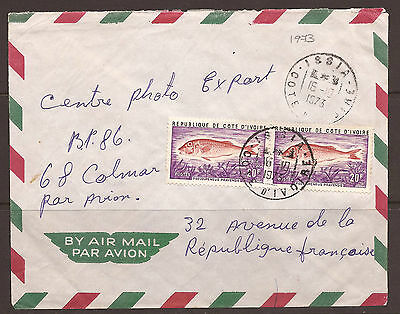 IVORY COAST / AFRICA. 1973. AIR MAIL COVER. 20f FISH PAIR. POSTMARK ISSIA.