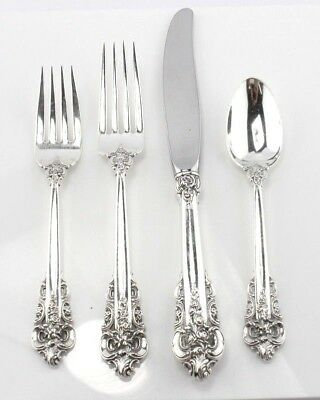 Wallace Grande Baroque 1941 4-Pc Sterling Silver Flatware Place Setting- #3069
