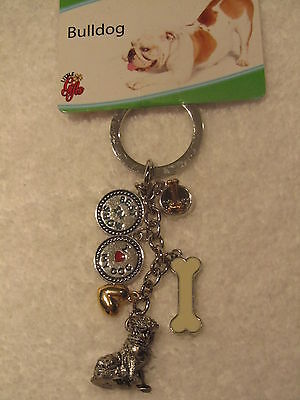 Bulldog Charm Key Ring Bowl Bone Best in Show I Love My Dog Heart Silver NEW