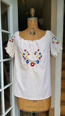 Vintage 1940s 1950s Hungarian Blouse Embroidered Peasant Top Ethnic Bohemian