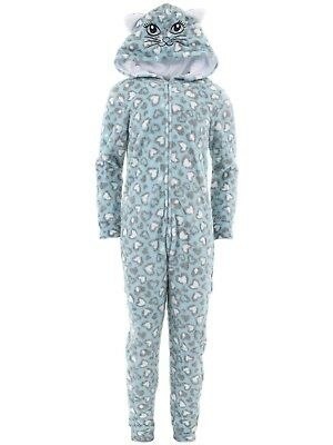 dELiA*s Girls Cat Blue Hooded One-Piece Pajamas