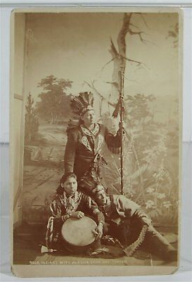 ca1880 NATIVE AMERICAN OSAGE INDIAN BRAVES WITH WEAPONS CABINET CARD PHOTOGRAPH