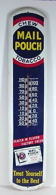 c1930 MAIL POUCH TOBACCO TIN LITHOGRAPH ADVERTISING THERMOMETER / SIGN 38 INCHES