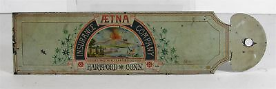 ca1880 AETNA INSURANCE CO TIN LITHO ADVERTISING POLICY FOLDER By WELLS AND HOPE