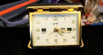 Vintage Mechanical Travel Alarm Clock- With Month, Day, and Date.