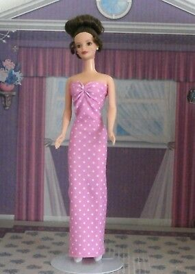 Handmade Barbie Clothes Pink White Dots Straight Dress