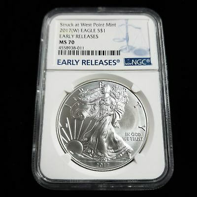 2017 W US American Silver Eagle $1 One Dollar NGC MS70 Early Releases WX8011
