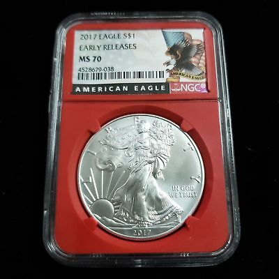 2017 US American Silver Eagle $1 One Dollar NGC MS70 Red Holder WX9038