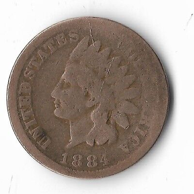Rare Very Old Antique Collectible US 1884 Indian Head Penny USA Collection Coin