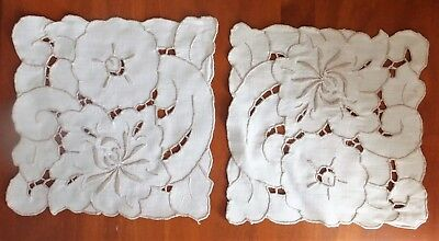 Vintage Set 2  Handmade Embroidered Cutwork Doilies