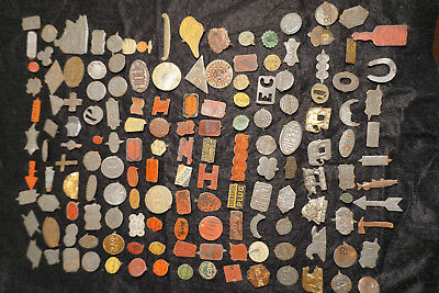Vintage Lot (150) Mixed Collectible Advertising Tobacco Tin Tab Tags Embossed