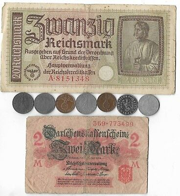 Rare Vintage WWI WWII German War Relic Civil WW2 Coin Note Historical Collection