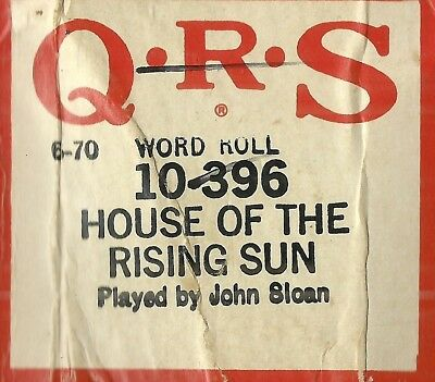 House of the Rising Sun, played by John Sloan, QRS 10-396 Piano Roll Original