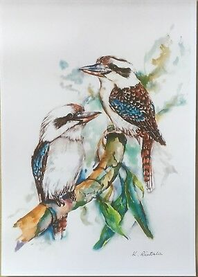 Australian Art Watercolour Print Kookaburras