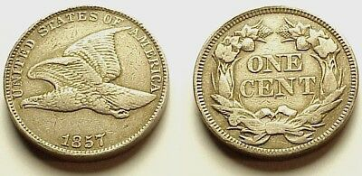 A/u 1857 Flying Eagle Cent- Strong Details! Eye Appeal! Free Shipping!